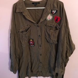 Army inspired button up w patches